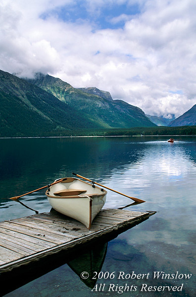 Boat on a Dock, Lake McDonald, Glacier National Park, Montana, USA, North America