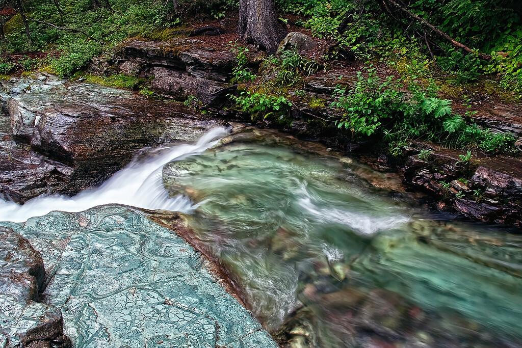water falling @ Glacier National Park