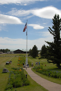 The view from the Glacier Park Lodge, looking towards the Amtrak station.