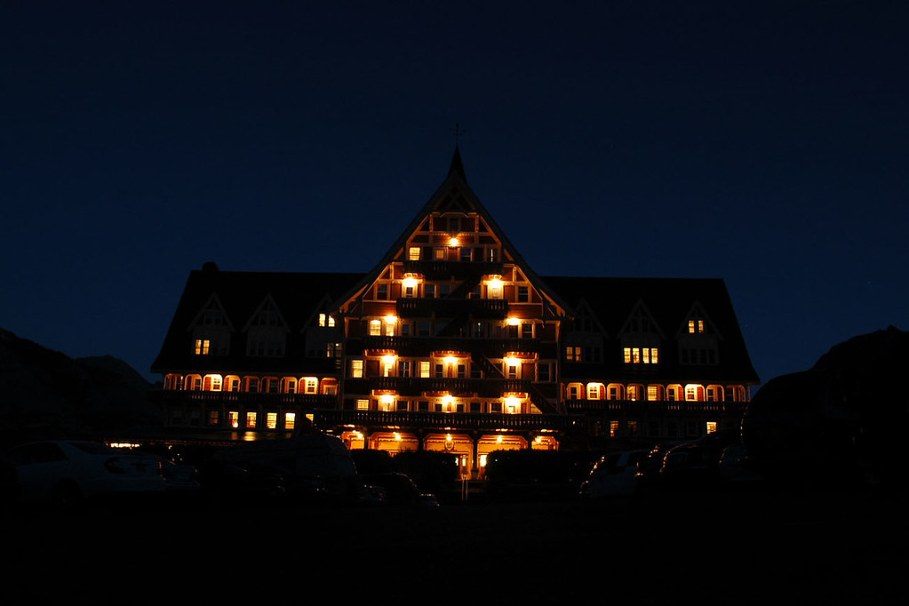 Night shot of the hotel.