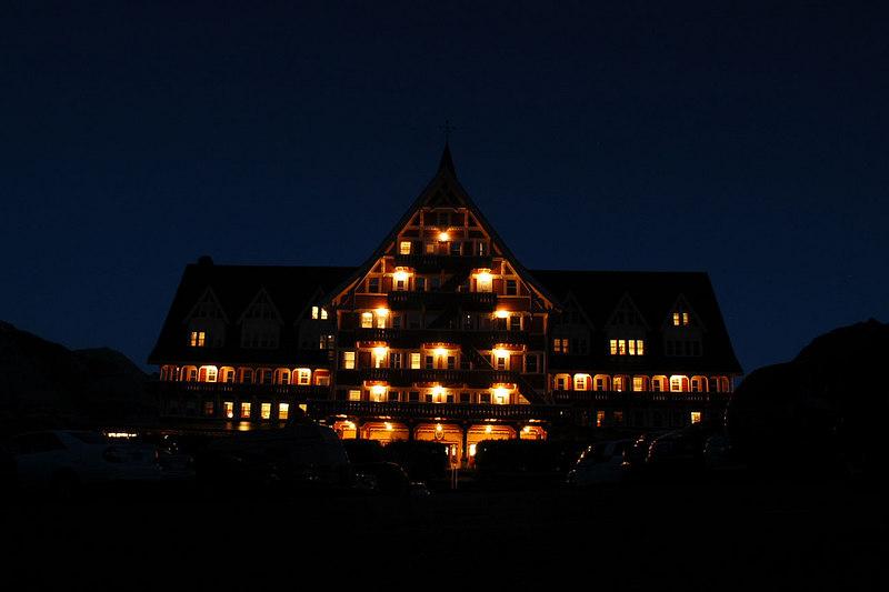 Night shot of the hotel.