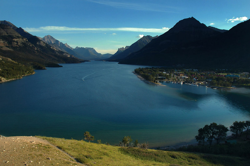 Another view from our room. The small townsite by the lake is Waterton.
