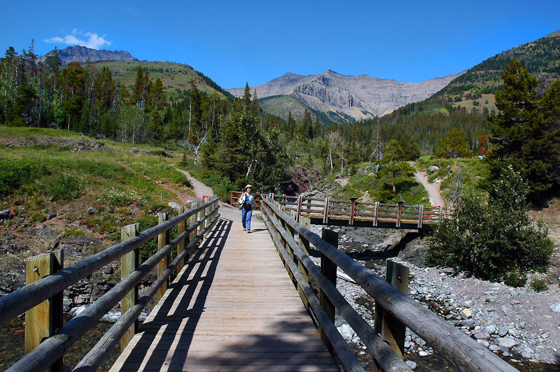 Helen crossing a bridge over Blakiston Creek at the start of the hike.