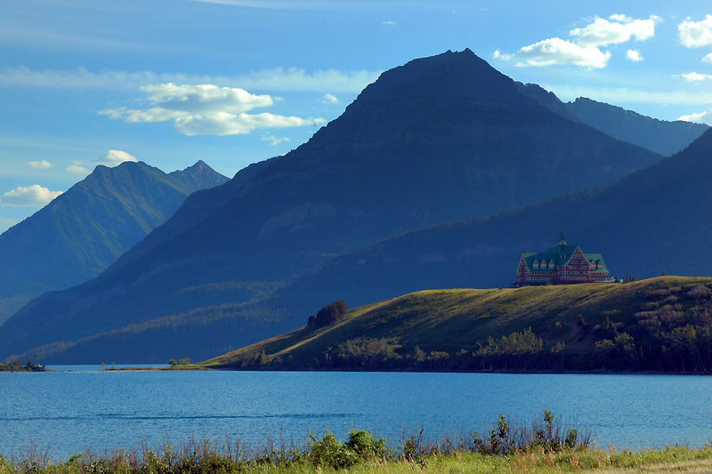 Our first view of the Prince Of Wales Hotel on Waterton Lake.