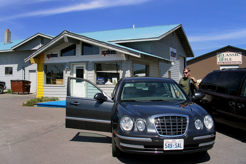Picking up the rental car. From here we need to drive to Waterton Lakes Nat'l Park in Alberta, Canada where we will be staying the first 2 days. Photo by Helen