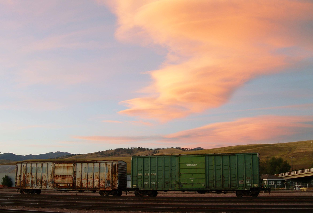 a  Railroad Car Sunset