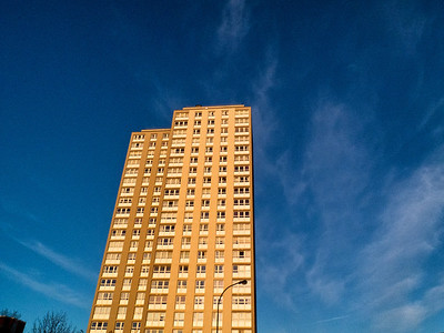 Tower block at dusk