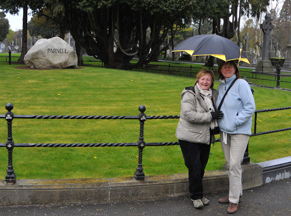 Carmel with friend Ann at Parnell's simple grave. The stone apparently cost £25 to deliver - a lot at that time.