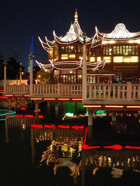 Yuyuan Garden by night.