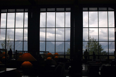 BEAUTIFUL  PANORAMA OF THE  TETONS    FROM THE  JACKSON  LODGE