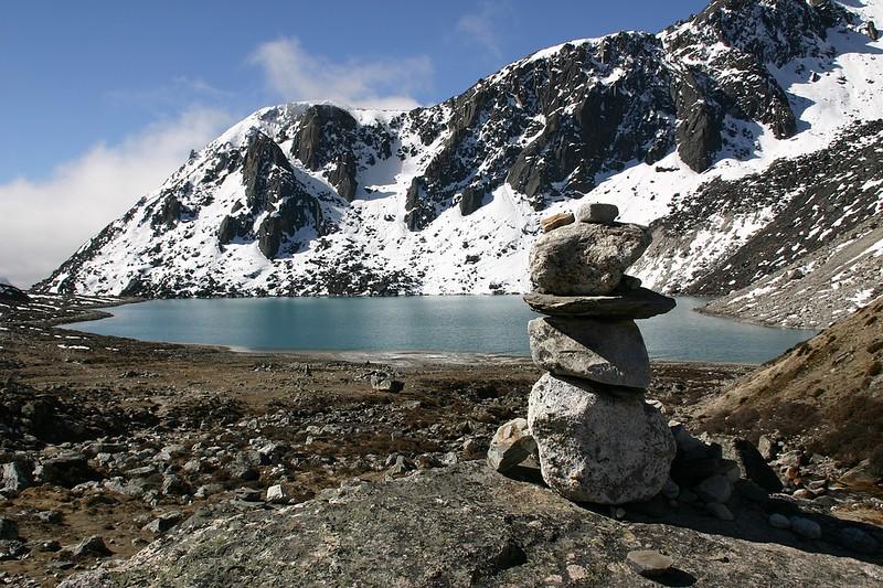 Lake Mountain Gokyo Khumbu Himalaya Nepal Cairn