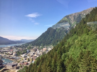 Scenery going Mount Roberts tram Juneau