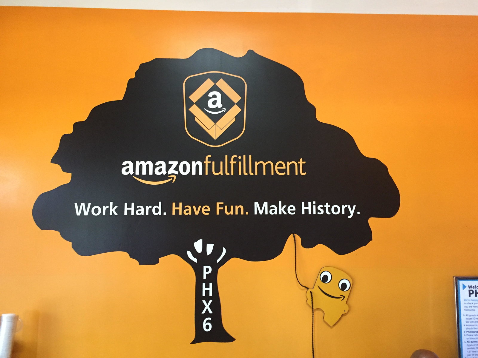 Amazon Phoenix Fulfillment sign in lobby