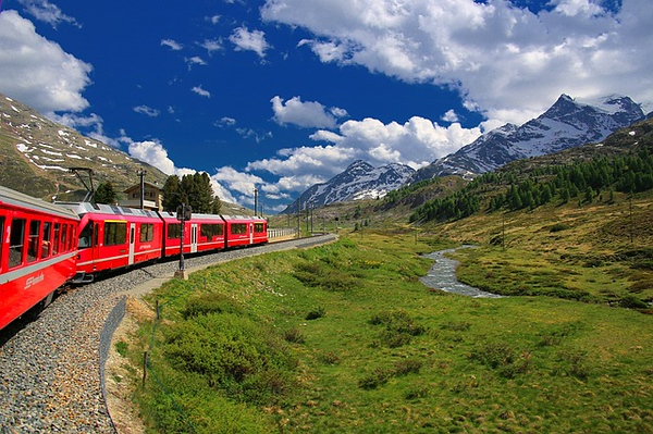 Switzerland Swiss Alps Glacier Express Train