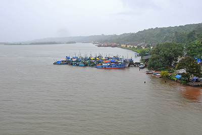 Great view on the train ride from Mumbai to Goa, India during the rains