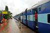 Madgaon railway station. Train ride back to Mumbai from Goa, India during the rains