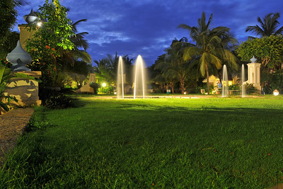 Club Mahindra resort at night in Goa, India.
