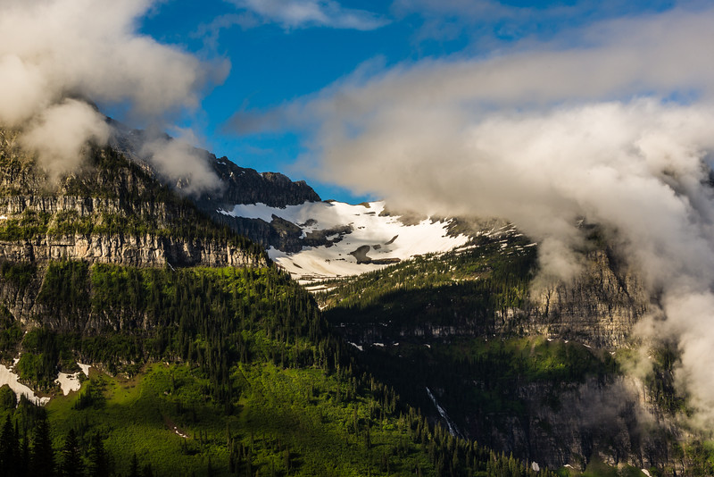 Snowfield and waterfall