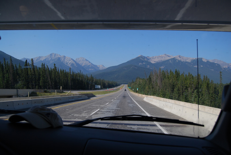 Heading west to cross the mountains into BC, then south.