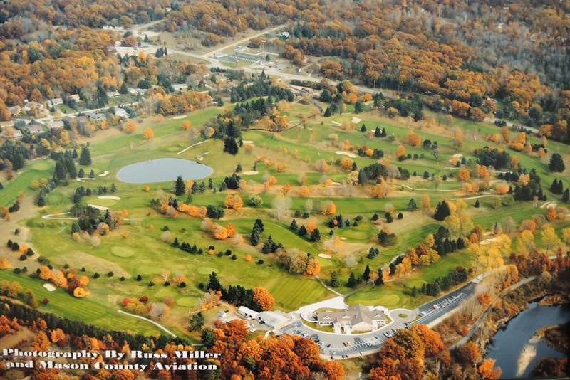An aerial view of Lincoln Hills course one mile North of Ludington on the West side of Michigan, 75 miles South of Traverse City. We played here Thursday and Saturday.