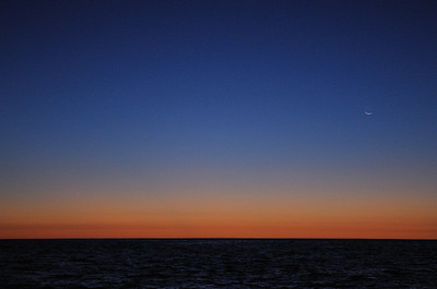 March 2012 Sea of Cortez Sunset with a crescent new moon.