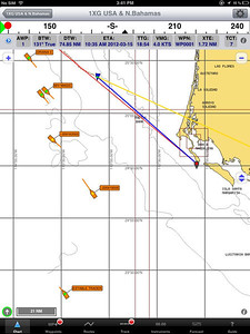 March 2012 Off the coast of Baja California on our way to Bahia de Magdalena This is screen print off of the iPad using AIS on iNavx which shows the commercial traffic out there. The blue triangle with the green dot is Copernicus. This was about midnight. I think there were also non AIS registered boats out there, saw some lights that I could not ID.