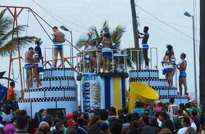 Mazatlán  February 2013  Parade sponsor, barely clad Pacifico.