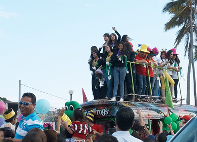 Mazatlán  February 2013  First up are the parade sponsors throwing beads etc into the crowds. Here is Señor Frogs..