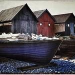 Fiskerhuse og både på Fårö