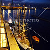 Sail boat and night view at the port of Las Palmas in Gran Canaria, Canary Islands.