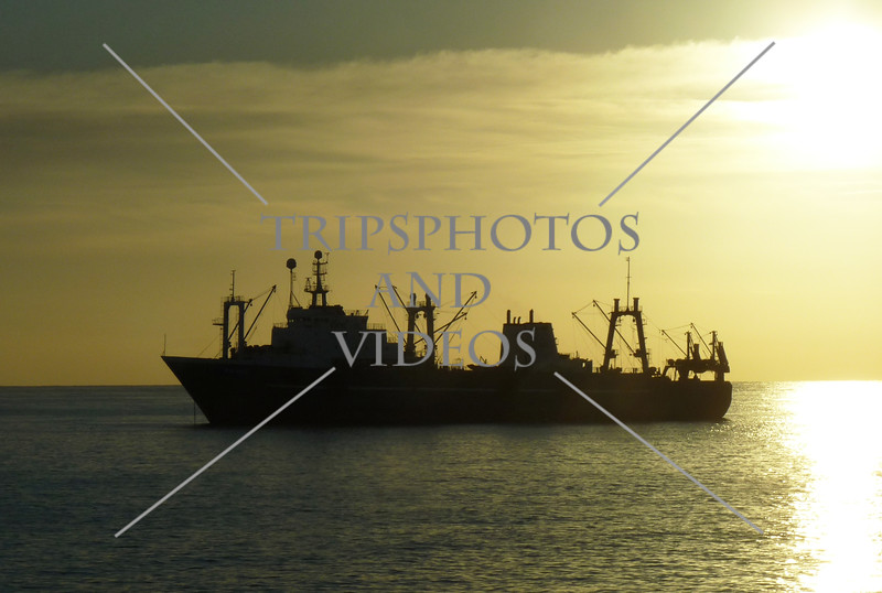 Early morning boat approach to the port of Las Palmas in Gran Canaria, Canary Islands.