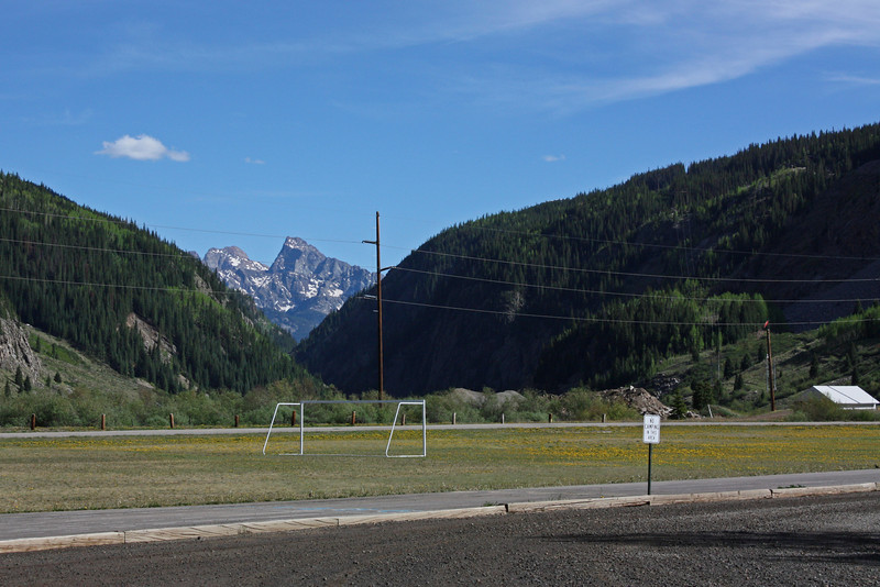 Silverton, CO - school playing field in the wilderness