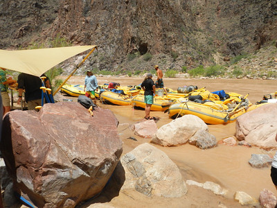 On the river we meet our guides at Bright Angel...River mile 89.5.