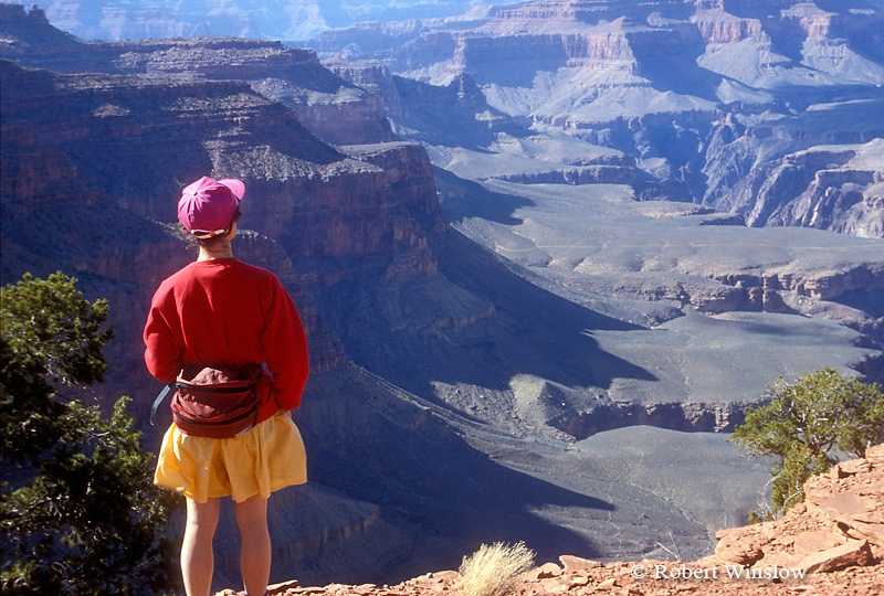 Model Released, Female Hiker, South Kaibab Trail, Grand Canyon National Park, Arizona, United States, North America