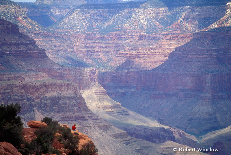 Hiker Resting, Cedar Ridge,  Grand Canyon National Park, Arizona, United States, North America