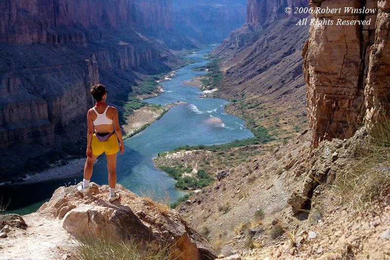 Model Released, Female Hiker, Nankoweap, Colorado River, Grand Canyon National Park, Arizona, USA, North America