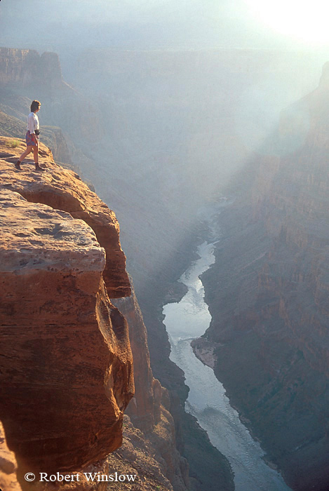 Model Released, Woman Hiker, Colorado River, From Toroweap Overlook, Grand Canyon National Park, Arizona, United States, North America
