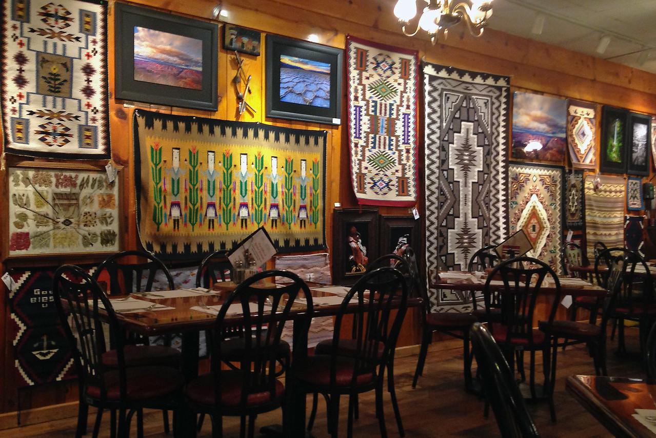 jacob_lake_inn2<br /> Indian art on the walls of the dining room at Jacob's Lake Inn. Photo by Rita.