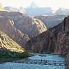 Crossing the suspension bridge over the Colorado River