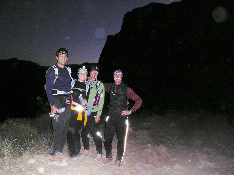 Here we are (Parker, Jess, Audrey and Brad) beginning our double crossing via the Bright Angel Trail at 4:30am. The trail's starting elevation is 6,860 feet. The 9.5 mile trail follows a natural fault line as it enters the canyon from the South Rim and leads to Phantom Ranch located at 2,480 feet. Once we reached Phantom Ranch, we continued across the floor of the canyon before beginning our climb to the North Rim, which is at 8,803 feet. Parker and Brad completed the double crossing to the North Rim. Jess and Audrey turned around 5 miles short of the North Rim and waited at Phantom Ranch to rejoin Parker and Brad for the hike out. We emerged from the canyon 21 hours and 40 minutes late.