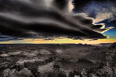 Sepia version of the Hopi Point morning sun. Sharpened version.