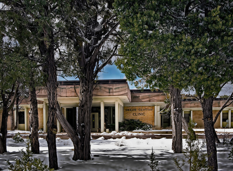 Front entrance, Grand Canyon clinic, late March snow.