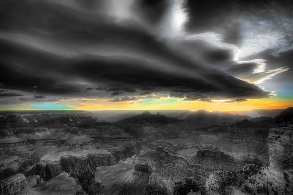 Hopi Point sunrise. Soft diffusion with original sky color restored to black and white version.