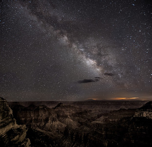 The Milky Way is in the south, so I reasoned the best views would be from the north rim looking south. This shot and the next one were taken from Bright Angel point, a few hundred yards from the Lodge.