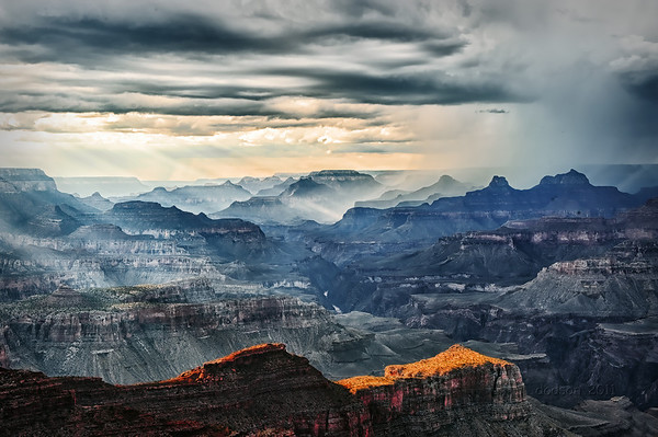 A distant view of the storm from Moran Point.
