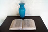 Blue vase and Bible at Pedro St. James house. Grand Cayman Island.