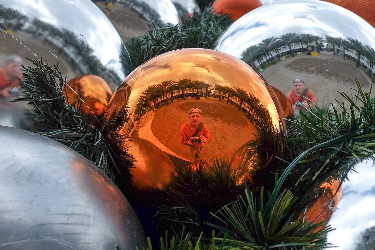 Self-portraits via Christmas Tree ornaments at Camana Bay, Grand Cayman - November 2013