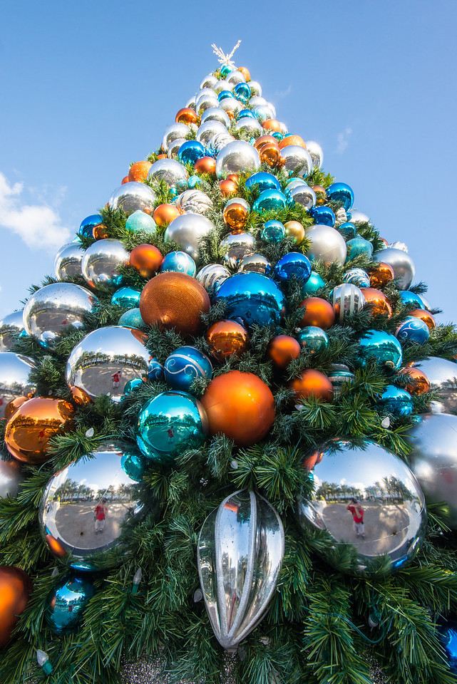 Christmas Tree ornaments in Camana Bay, Grand Cayman - November 2013