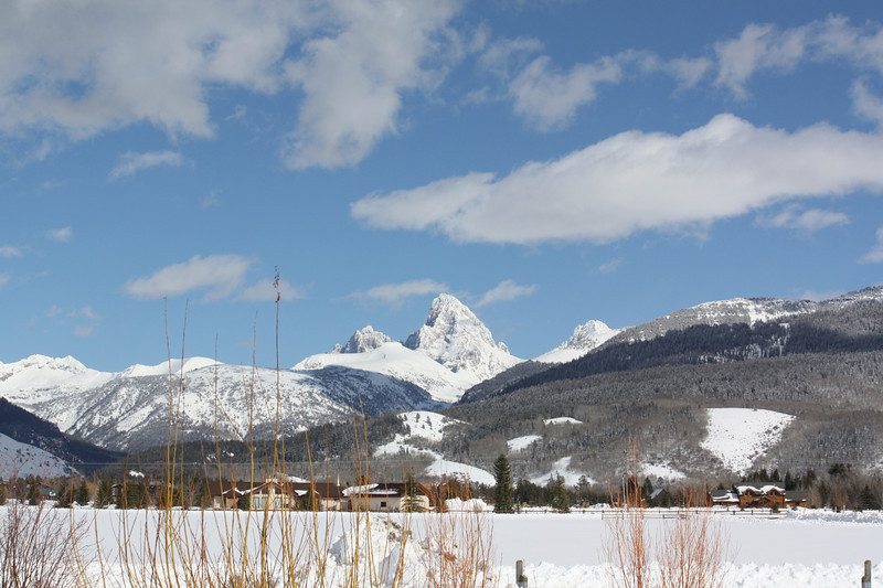 View of the Grand Teton range from the chalet in Driggs.