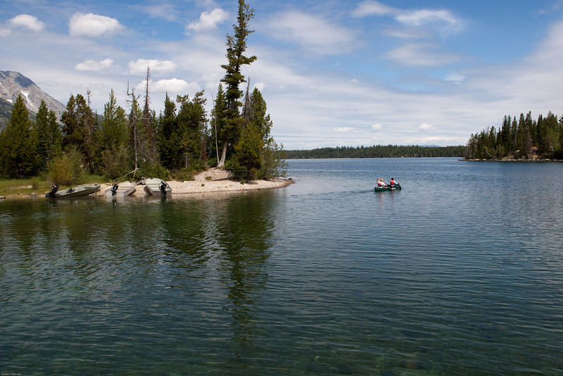 4M9F9103-1. Jenny Lake which is set in the heart of Grand Teton National Park, at the base of Teewinot Mountain.